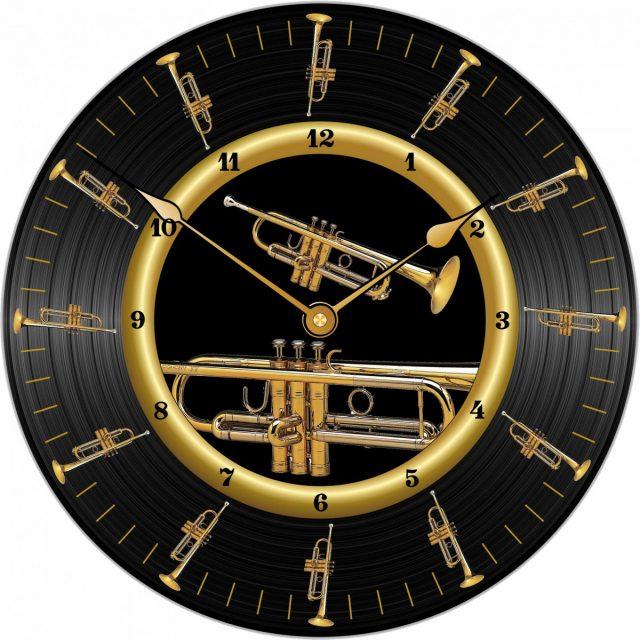 Horloge Disque vinyle Trompette Ø 290 mm PM