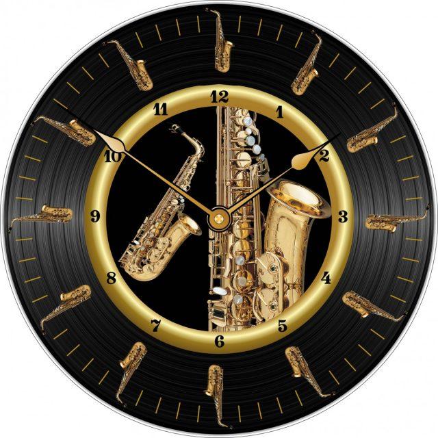 Horloge Sax Alto disque vinyle Ø 290 mm