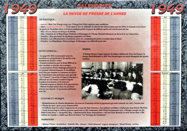 Année de Naissance - Calendrier 1949