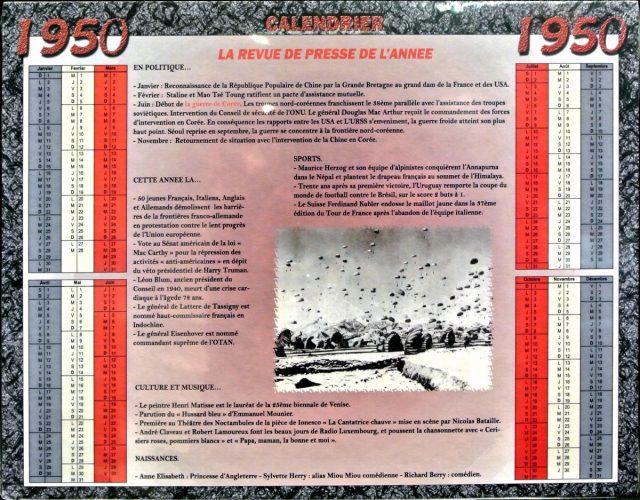 Année de Naissance - Calendrier 1950