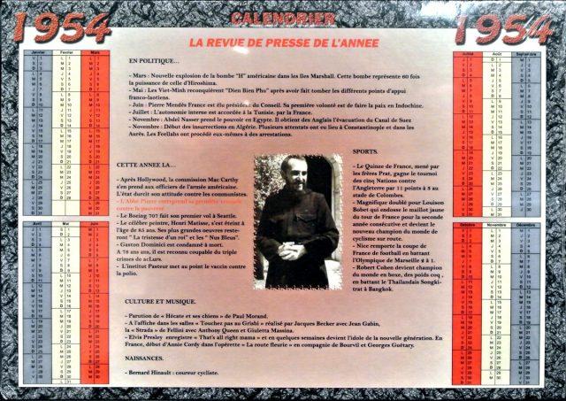 Année de Naissance - Calendrier 1954