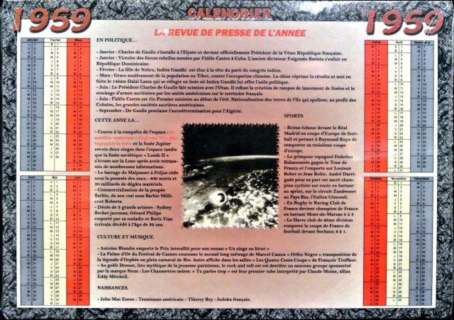 Année de Naissance - Calendrier 1959