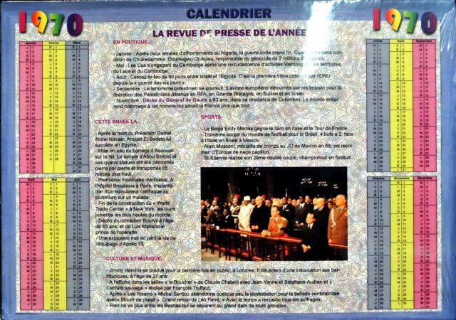 Année de Naissance - Calendrier 1970