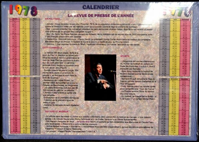 Année de Naissance - Calendrier 1978