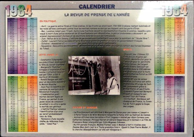 Année de Naissance - Calendrier 1984