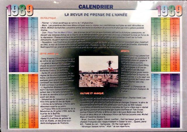 Année de Naissance - Calendrier 1989