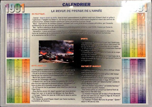 Année de Naissance - Calendrier 1991