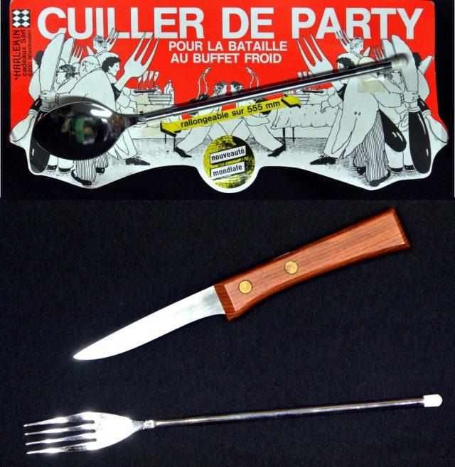 Couteau à grillade et fourchette & Cuillère télescopique 50 cm