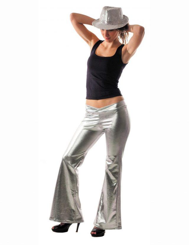 Pantalon disco argent femme