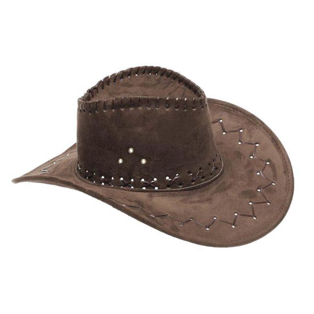 Chapeau cowboy vieux cuir marron