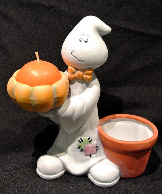 Halloween Bougeoir Fantôme avec pot à bonbons ou plante